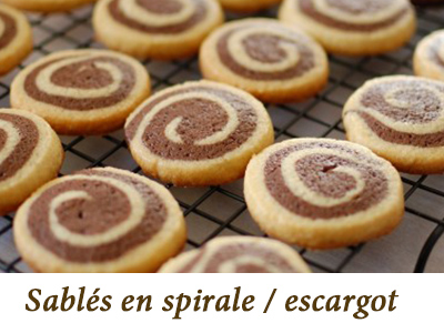 biscuit escargot vanille chocolat