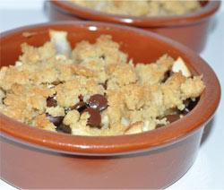 dessert crumble au chocolat pomme