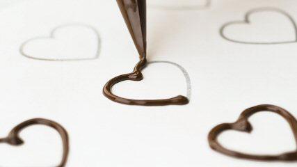 décor cœur en chocolat