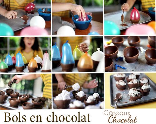 coupelles, bols et nids en chocolat