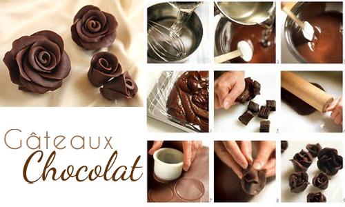 fleur en chocolat plastique. maison chocolat décoration